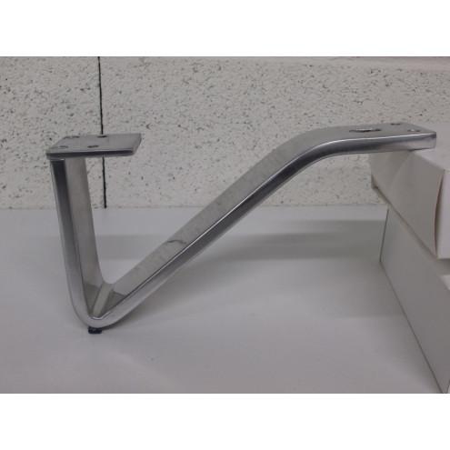 Pied métal couleur alu forme G, pour canapé et fauteuil
