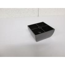 Pied plastique forme carré couleur noir chromé pour canapé et fauteuil