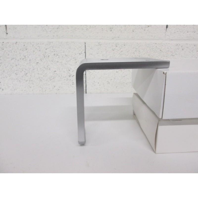 Pied métal en forme L, couleur aluminium, pour canapé et fauteuil