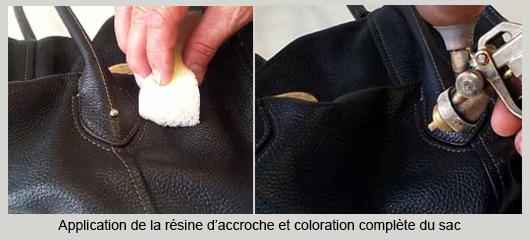 resine accroche et teinte sac